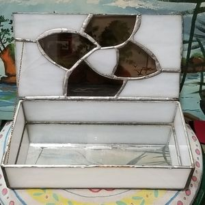 Vintage Stain glass jewelry box with inner mirror